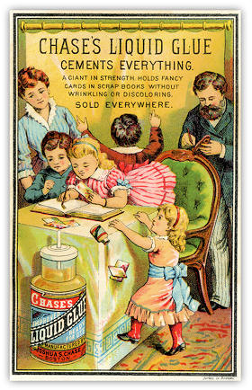 Image of US trade card for Chase's Glue Printed by Forbes Co, Boston
