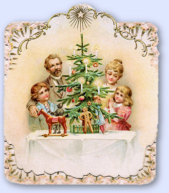 Victorian family around the Christmas tree